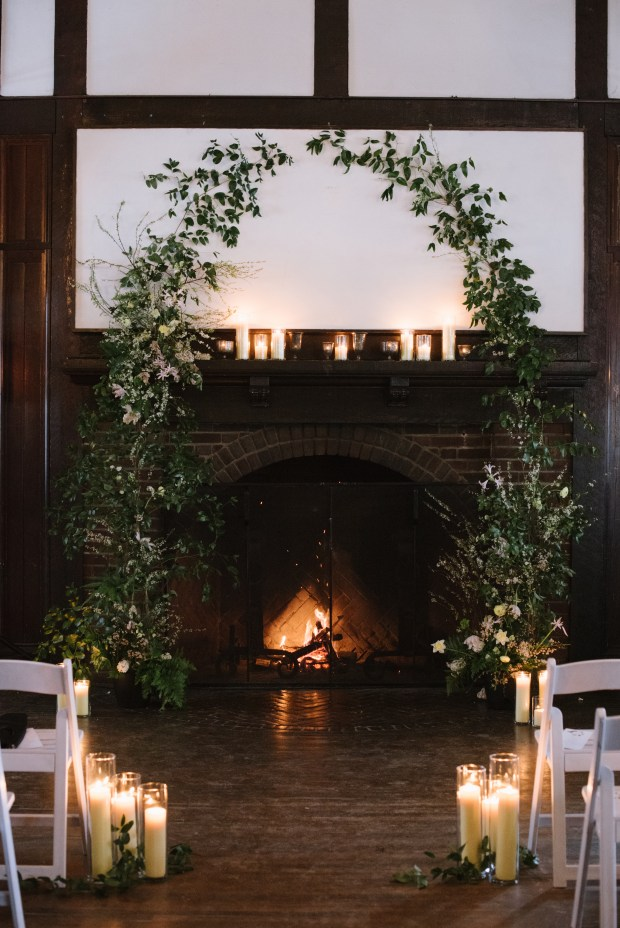 The fire at Wirth Chalet warmed the wedding guests as they arrived out of the blizzard. Photo: Lydia Jane Photography
