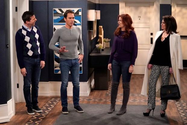 "The stars of NBC's ""Will and Grace"": Sean Hayes as Jack McFarland, Eric McCormack as Will Truman, Debra Messing as Grace Adler, Megan Mullally as Karen Walker. (Courtesy of Chris Haston/NBC)"