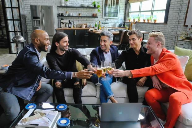 "The cast of Netflix's ""Queer Eye"": Karamo Brown, Jonathan Van Ness, Tan France, Antoni Porowski and Bobby Berk. (Courtesy of Carin Baer/Netflix)"