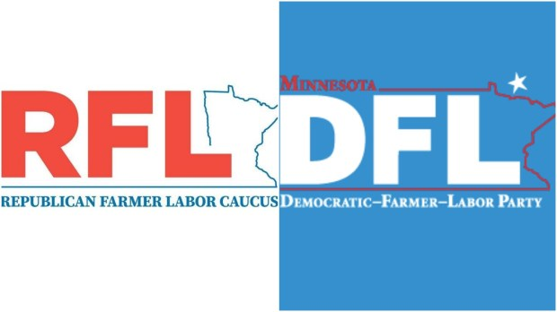 """Side-by-side of logos of the newly formed """"Republican Farmer Labor Caucus"""" (RFL) of the Minnesota House, left, and the long-established Minnesota Democratic-Farmer-Labor Party (DFL)."""