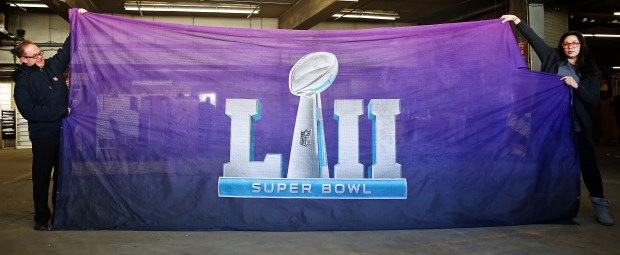This Super Bowl LII banner is shown in an photo circa April 2017. Twin Cities Salvation Army is selling Super Bowl LII banners and memorabilia in an online auction that began Thursday, April 5, 2018 and ends Tuesday on Ebay. (Courtesy of Craig Dirkes / Salvation Army)