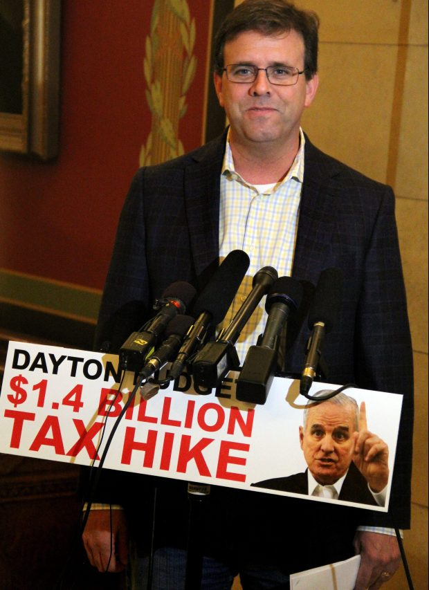 Rep. Pat Garofalo, R-Farmington, critiques Gov. Mark Dayton's tax proposal outside the governor's office Thursday, April 19, 2018 at the State Capitol in St. Paul. Republicans have criticized the governor for wanting to extend a tax on health care providers that funds care for the working poor past its planned expiration at the end of 2019. (Christopher Magan / Pioneer Press)