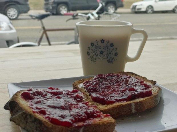 Toast with house made bread, raspberry jam and Stony Creek Dairy butter at Brake Bread in St. Paul. Photographed April 12, 2018. (Nancy Ngo / Pioneer Press)