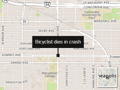 Map of where bicyclist was hit by bus on May 9, 2018.