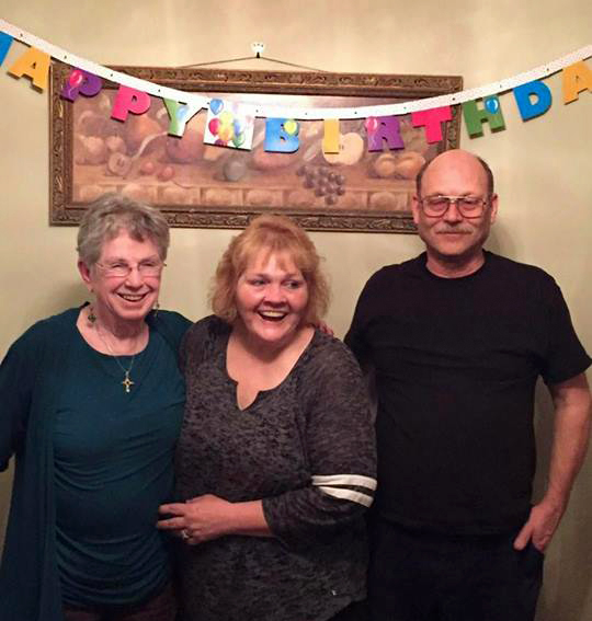 MAX WIDTH FOR PRINT: 3.75 INCHES -- Margie Johns of St. Paul, left, Joanne Mancha of West St. Paul, and Ken Gunter of Roseville were headed to Washington state Monday, May 7, 2018 when a tire on their car blew out near Butte, Montana. Johns is the mother of Mancha and Gunter. The car flipped over and each person sustained severe injuries. As of Friday afternoon, all three were still in critical condition. (Courtesy of Julia Mancha).