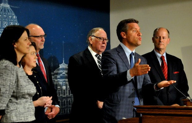 House Speaker Kurt Daudt provides an update on the end of the legislative session and passage of the tax bill as he speaks about his frustration and hope that Governor Dayton will sign it on Sunday, May 20, 2018. Other Republican legislators joining him in the Capitol Press Conference Room are from left: House Majority Leader Joyce Peppin, R-Rogers; Sen. Michelle Benson, R-Ham Lake; Sen. Roger Chamberlain, R-Lino Lakes; Sen. David Senjem, R-Rochester and Sen. Majority Leader Paul Gazelka. (Ginger Pinson / Pioneer Press)
