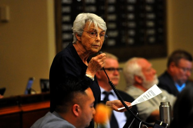 Rep. Jean Wagenius, DFL-MInneapolis discusses the bonding bill during the closing day of the Minnesota State Legislature on Sunday, May 20, 2018. (Ginger Pinson / Pioneer Press)