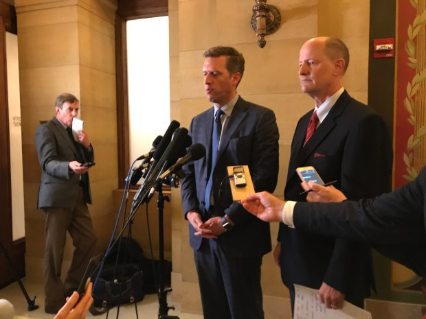 Minnesota House Speaker Kurt Daudt and Senate Majority Leader Paul Gazelka discuss negotiations to conclude the legislative session at the Capitol Monday, May 14, 2018. (Christopher Magan / Pioneer Press)