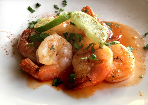 Honey sriracha shrimp at Cravings Wine Bar in Woodbury, May 2018. (Jess Fleming / Pioneer Press)