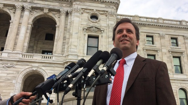 Minnesota state Rep. Pat Garofalo, R-Farmington, speaks to reporters about legalizing sports betting outside the state Capitol Monday, May 14, 2018. For years, Garofalo has pushed the idea, and following Monday's U.S. Supreme Court ruling opening the door to it, he said Minnesota should legalize it. (Dave Orrick / Pioneer Press)