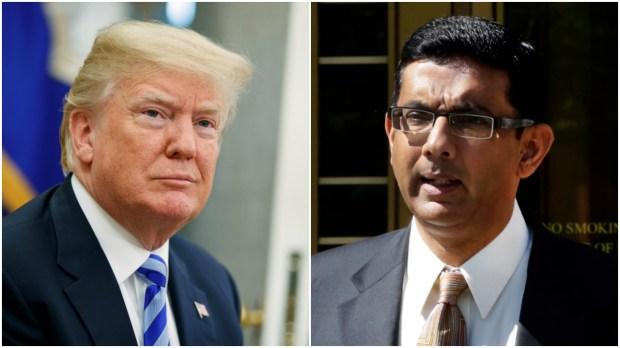 President Donald Trump, Dinesh D'Souza. (Associate Press/Evan Vucci; Associate Press/Richard Drew)