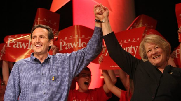Governor Tim Pawlenty and Lt. Governor Carol Molnau enjoy a strong applause after they were endorsed by the State Republican Party at the State GOP Convention in Minneapolis on June 2, 2006. (Thomas Whisenand / Pioneer Press)