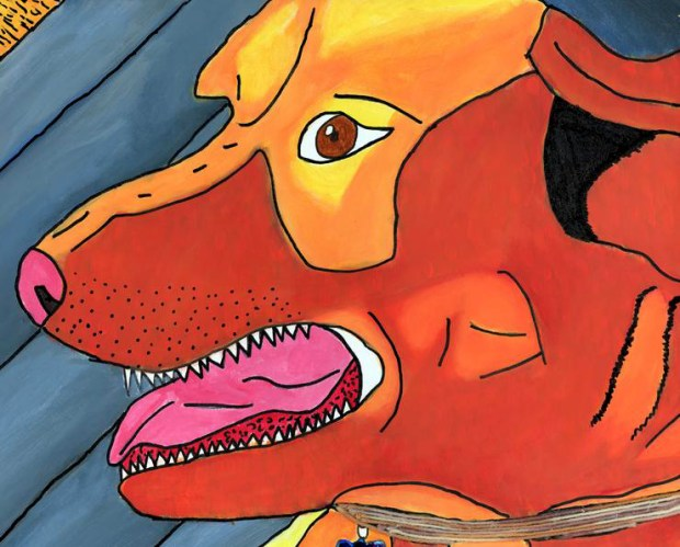"""""""Dog,"""" a painting by artist Devin Wildes, is for sale through Art Force; prints cost $35. (Courtesy of Art Force)"""