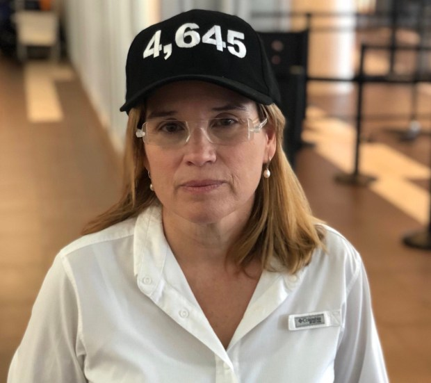 Carmen Yulin Cruz, the mayor of San Juan, Puerto Rico, poses Wednesday before boarding a flight bound for the Twin Cities. The number on the hat refers to the estimated highest number of deaths linked to Hurricane Maria. The figure comes from a Harvard study published this week in the New England Journal of Medicine. Photo courtesy of Carmen Yulin Cruz