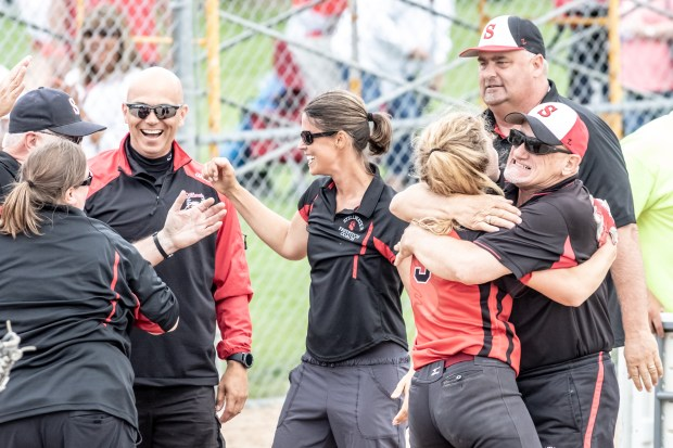Stillwater coaches celebrate the Ponies 5-1 win over Park in the Class 4A Minnesota high school state softball championship game on Friday, June 8 at Caswell Park in North Mankato. (Photo courtesy of Steve Rooker)
