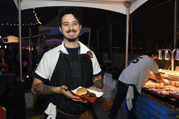 Chef Adam Harvey of AE Supply Co attends the Food Network & Cooking Channel New York City Wine & Food Festival Presented By Coca-Cola - Blue Moon Burger Bash presented by Pat LaFrieda Meats hosted by Rachael Ray at Pier 92 on October 13, 2017 in New York City. (Photo by Mike Coppola/Getty Images for NYCWFF)