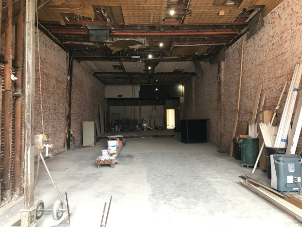 Construction is underway at 227 Main St. South, home of a new distillery, bar and restaurant from LOLO and 45th Parallel Distillery. Photographed June 18, 2018. (Nancy Ngo / Pioneer Press)