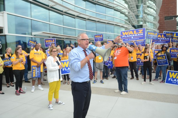 Congressman Tim Walz and state Rep. Peggy Flanagan rally supporters Saturday, June 2, outside the Mayo Civic Center in Rochester. Walz did not receive the Democratic-Farmer-Labor Party endorsement for governor, but plans to run in the August primary against endorsed candidate Erin Murphy. (Christopher Magan / Pioneer Press)