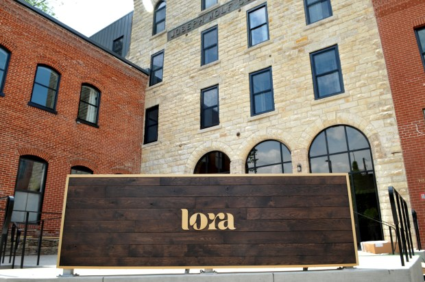 The new sign for the Lora, a new boutique hotel, in downtown Stillwater is seen on Thursday, May 24, 2018. (Ginger Pinson / Pioneer Press)