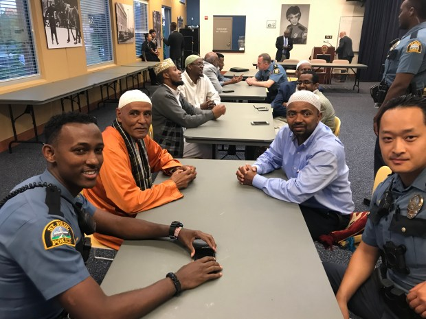 The St. Paul police department hosted an Iftar, the sunset meal that ends the daily fast during Ramadan, at the Western District station to connect community members and officers on Tuesday, June 12, 2018. (Courtesy of St. Paul police department)