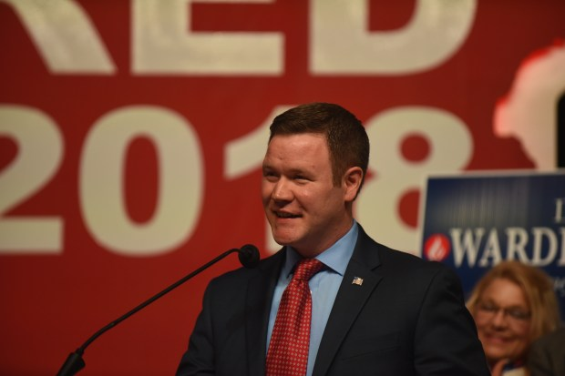 Doug Wardlow speaks after earning the Republican endorsement for attorney general during the Republican party convention in Duluth, Minn., Saturday, June 2, 2018. (Dave Orrick) / Pioneer Press)