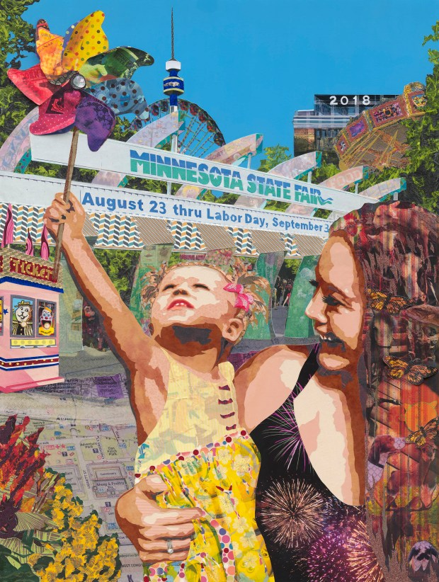 The 2018 Minnesota State Fair commemorative poster image was created by collage artist Kristi Abbott. (Courtesy Minnesota State Fair)