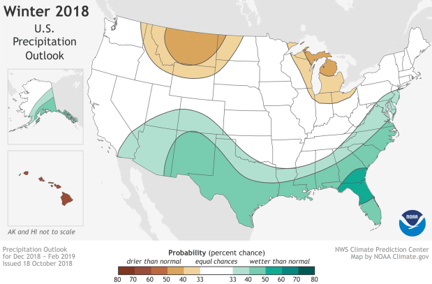 Winter Outlook 2018-19 map for temperature. (NOAA)