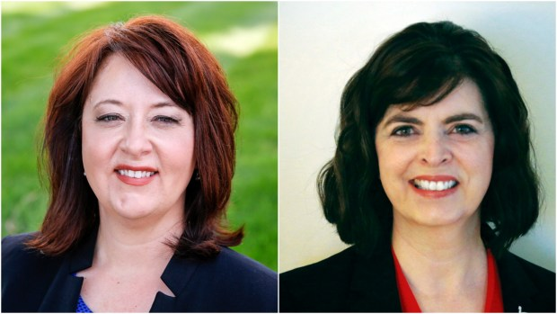 Candidates for Minnesota Auditor from left, Julie Blaha and Pam Hyhra.