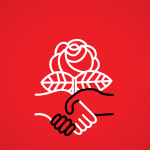 Democratic Socialists of America Logo: A red background with a white rose outline held by two clasped hands, one white and one black