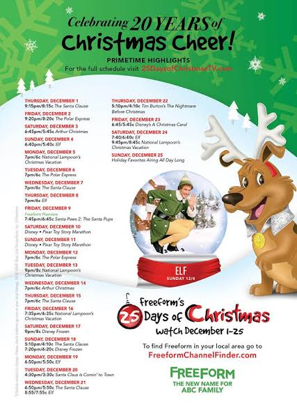 25 Days Of Christmas Tv Schedule For Freeform Formerly Abc Family Twin Cities Frugal Mom
