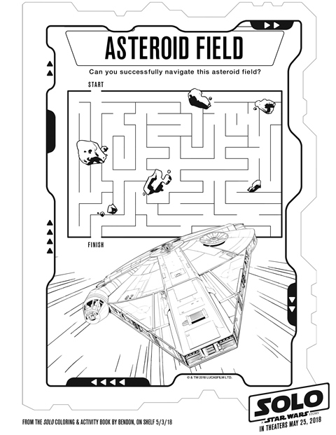Solo A Star Wars Story Asteroid Field Activity Sheet