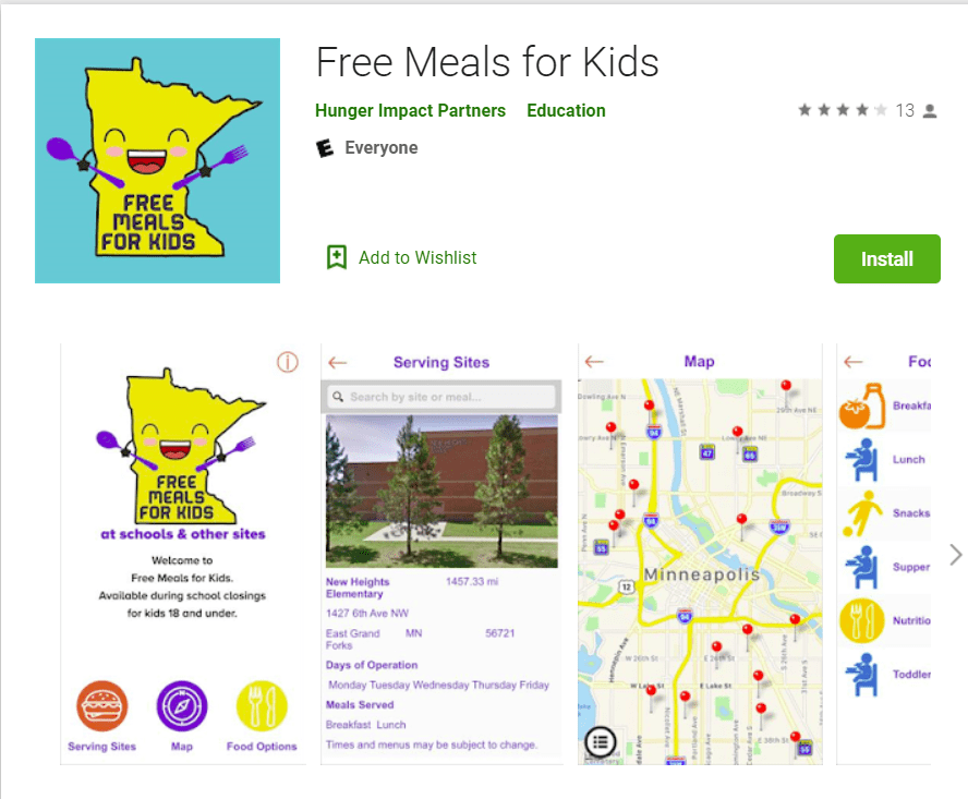 Free Meals for Kids app