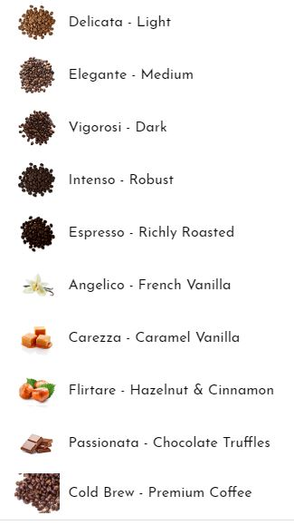 Amora Coffee Choices