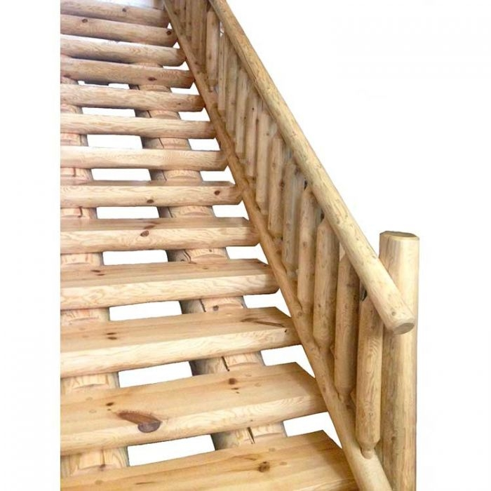 Dual Cope White Pine Log Stairs Twin Creeks | Pine Handrail For Stairs | Stair Parts | Anti Slip | Handrail Brackets | Stair Treads | Wood Stair