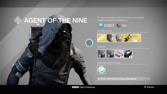 Destiny TTK The Taken King Xur Oct 9-11 Location and Exotic List