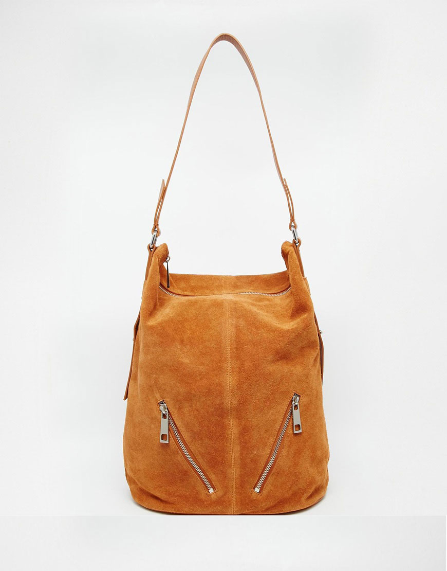 ASOS Suede And Leather Shoulder Bag
