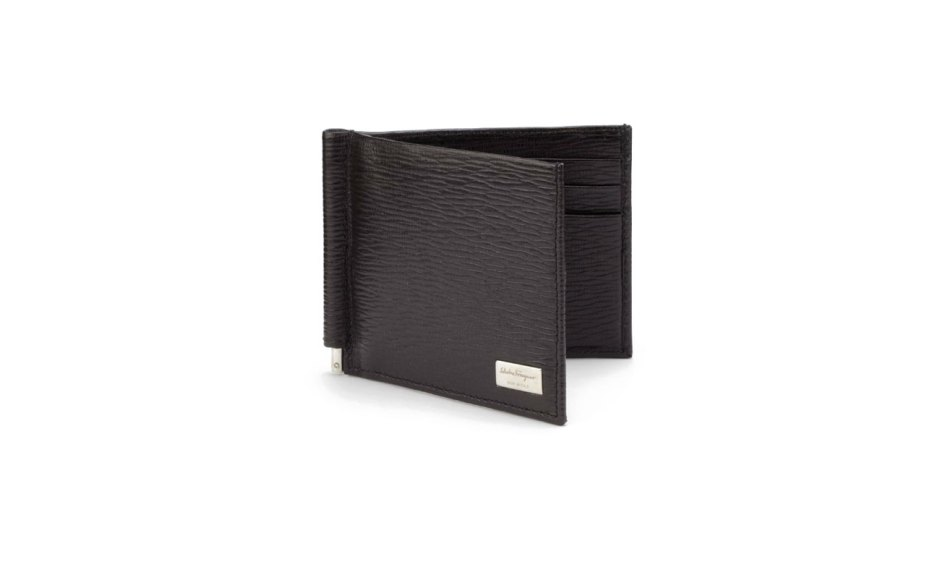 Salvatore-Ferragamo-Revival-Textured-Leather-Money-Clip-Bifold-Wallet
