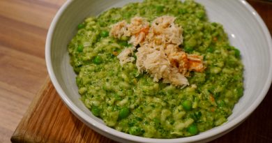 Pea, spinach and crab risotto
