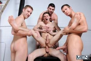 Tyler Sweet gets fucked by Spencer Fox, Tony Paradise, Sebastian Keyes and Brad Foxx (Jizz Orgy)
