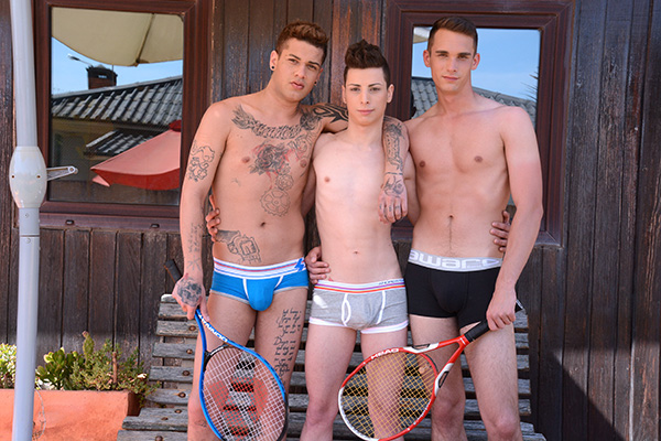 Alex Santana, Mickey Taylor and Orlando White have fun on and off the court. (Staxus)