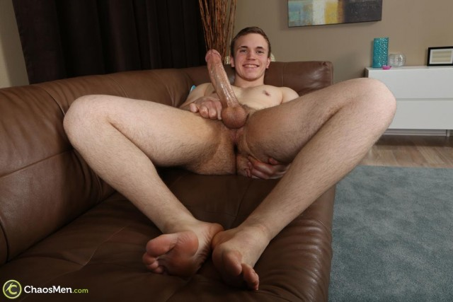 Cute 19-year old Aidan shows off his huge cock and sexy body! (Chaos Men)