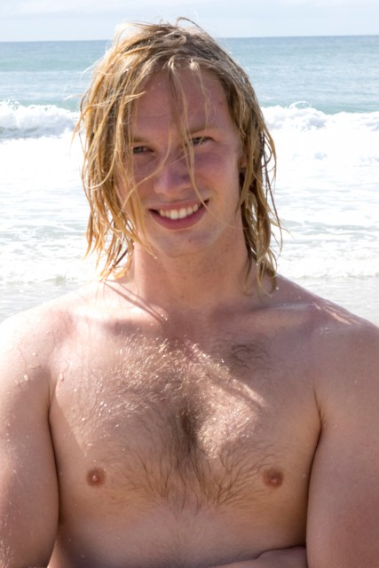 Blond Swedish stud Blake looks hot on the Aussie beach. (All Australian Boys)