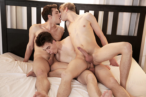Blindfolded Tom Nutt gets Edward Fox and Troy Vara's cocks stuffed into him. (Staxus)