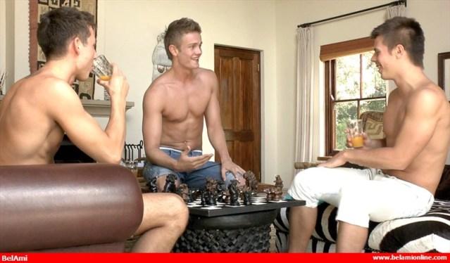 Tom Pollock, Gaelan Binoche and Philipe Gaudin play a very sexy game of chess. (BelAmi Online)