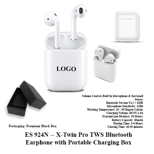 ES 924N — X-Twin Pro TWS Bluetooth Earphone with Portable Charging Box