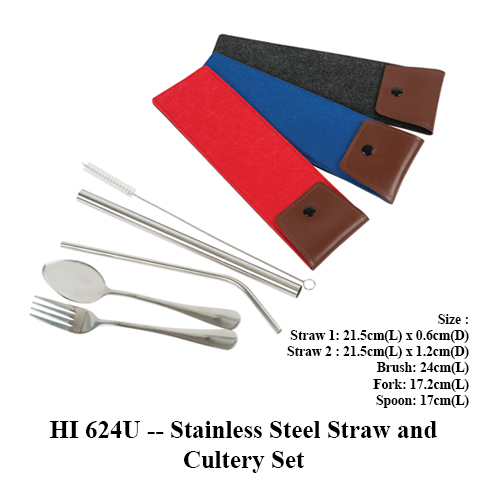 HI 624U — Stainless Steel Straw and Cutlery Set