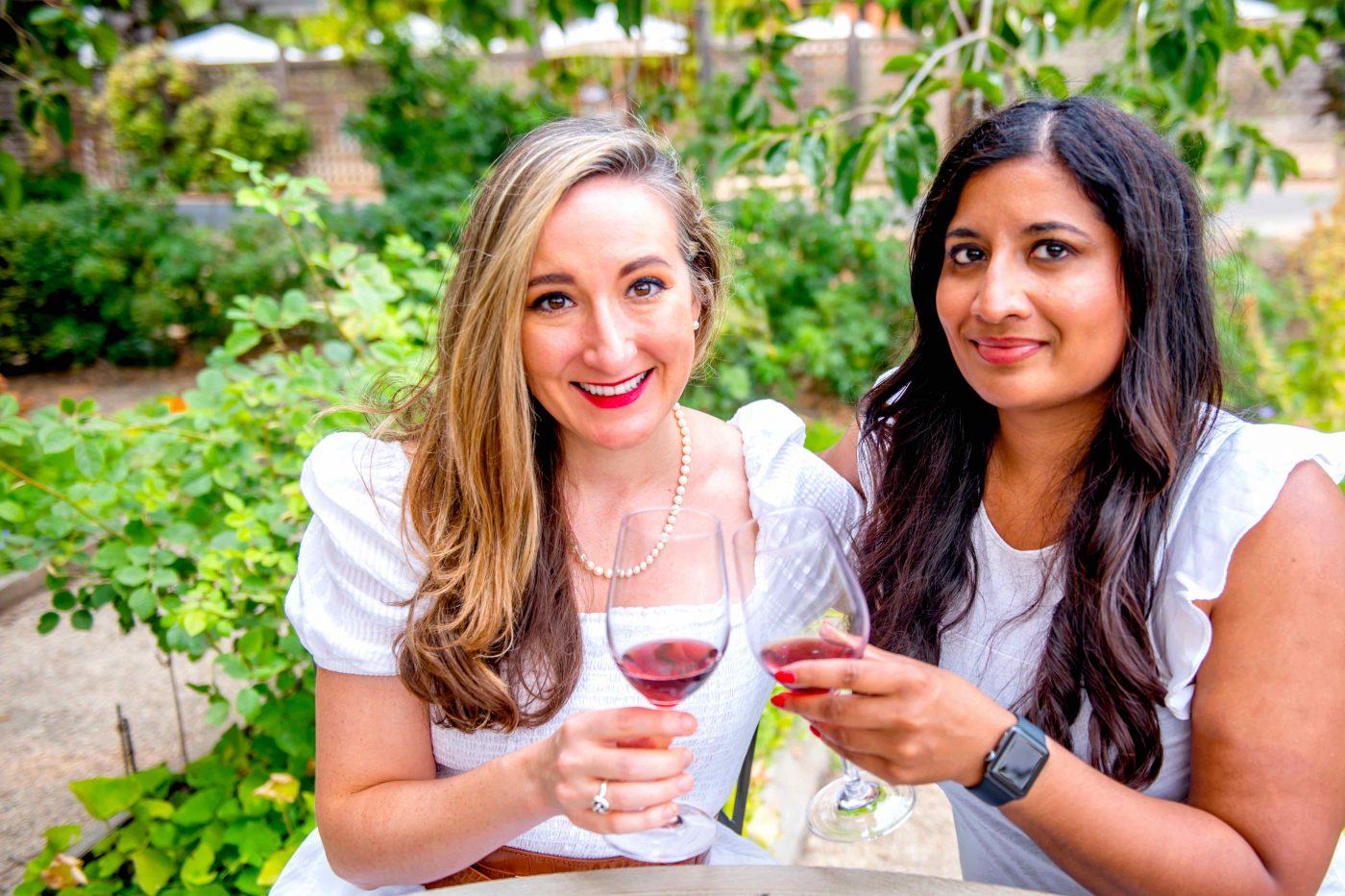 Women Sipping Wine in the Trefethen Rose Garden