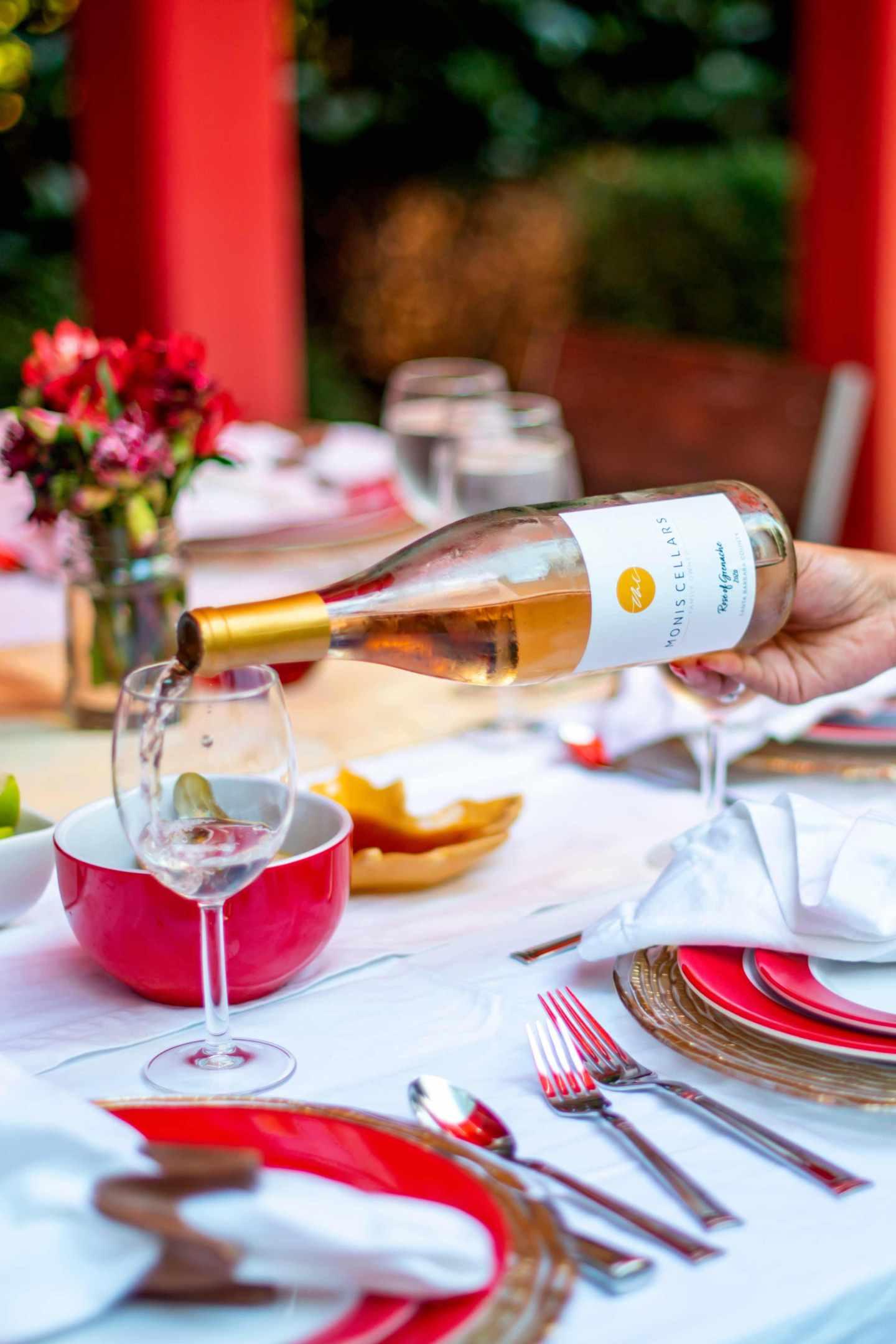 Monis Cellars Rose. Fall Dinner Party Ideas.