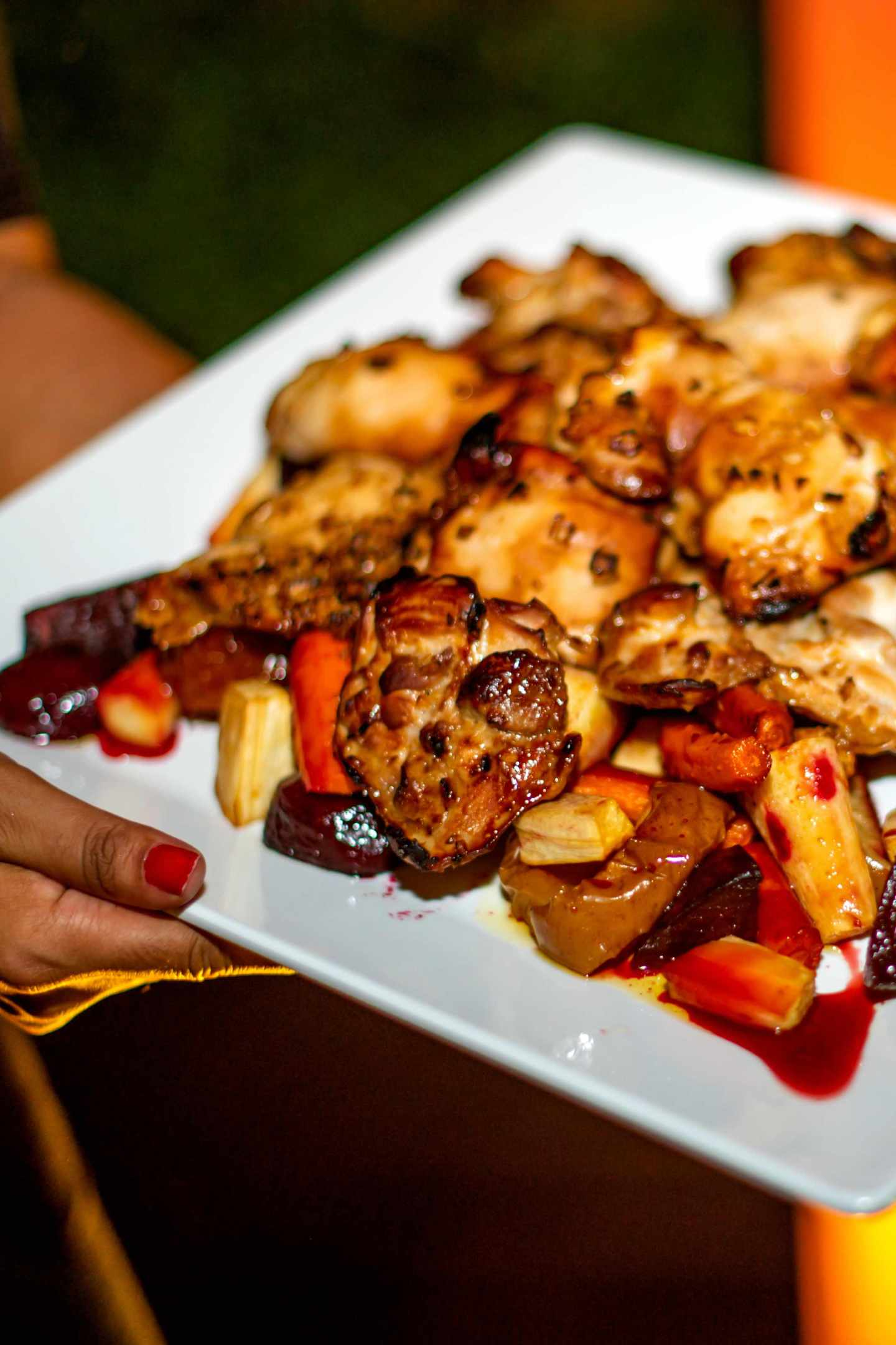 Rosh Hashanah Honey Roasted Chicken with Roasted Root Vegetables. Fall Dinner Party Ideas
