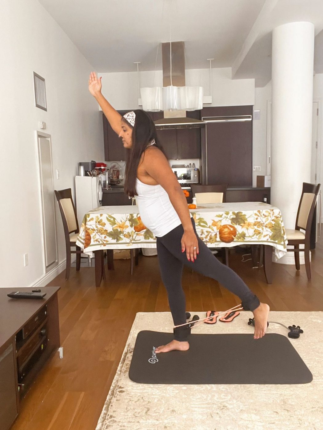 best workouts at home: P.volve. Halloween workout ideas. Ankle band. Resistance band.